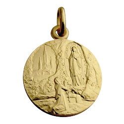 Martineau - Apparition de Lourdes - Médaille - Or jaune 18 carats