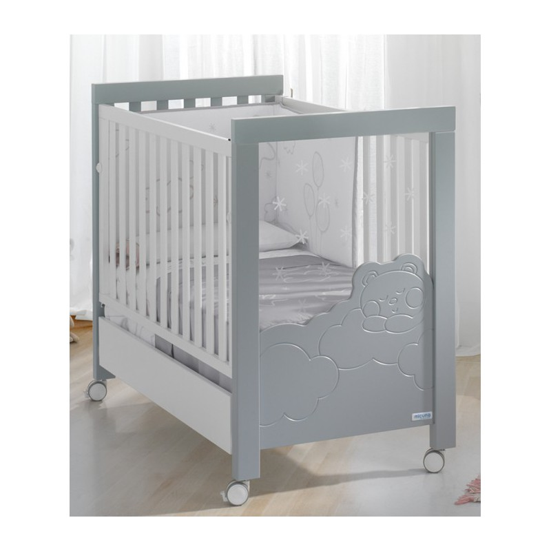 lit b b avec sommier inclinable micuna gris dolce luce mon premier doudou lits b b. Black Bedroom Furniture Sets. Home Design Ideas