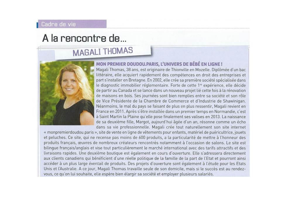 Article - Magazine de Saint Martin la Plaine